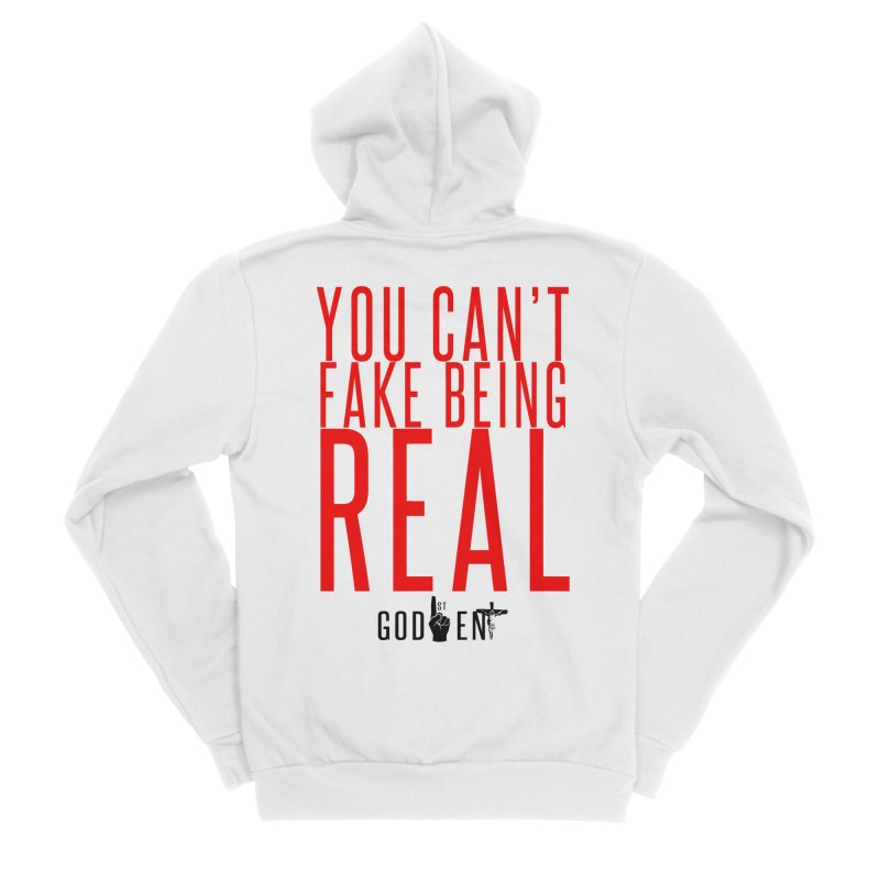 YOU CAN'T FAKE BEING REAL | KING JAMES TEE | WHITE Women's Zip-Up Hoody by King James's Artist Shop