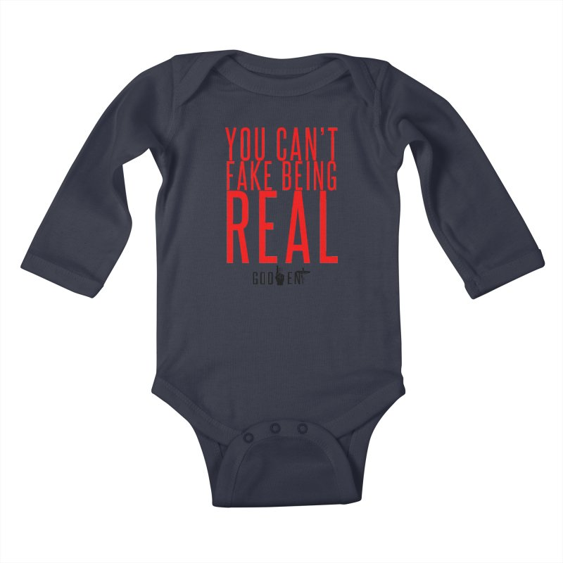 YOU CAN'T FAKE BEING REAL   KING JAMES TEE   WHITE Kids Baby Longsleeve Bodysuit by King James's Artist Shop