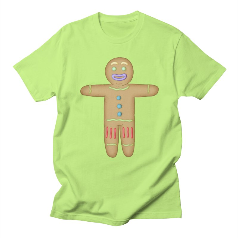 Gingerbread man 1 in Men's T-Shirt Neon Green by The Clown With Crown