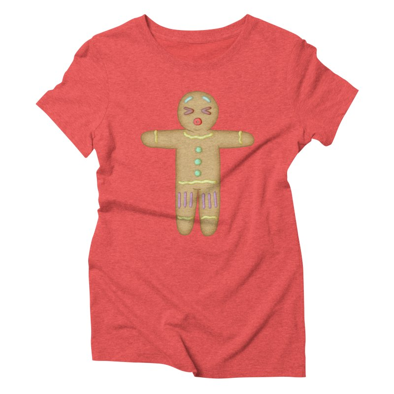 Gingerbread Man 2 in Women's Triblend T-Shirt Chili Red by The Clown With Crown