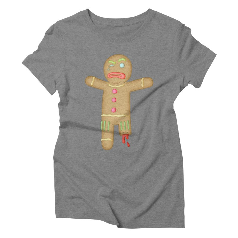 Gingerbread Man 3 in Women's Triblend T-Shirt Grey Triblend by The Clown With Crown