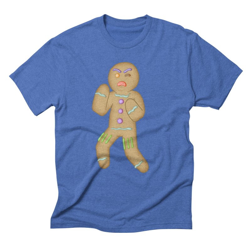 Fighting Gingerbread Man in Men's Triblend T-Shirt Blue Triblend by The Clown With Crown