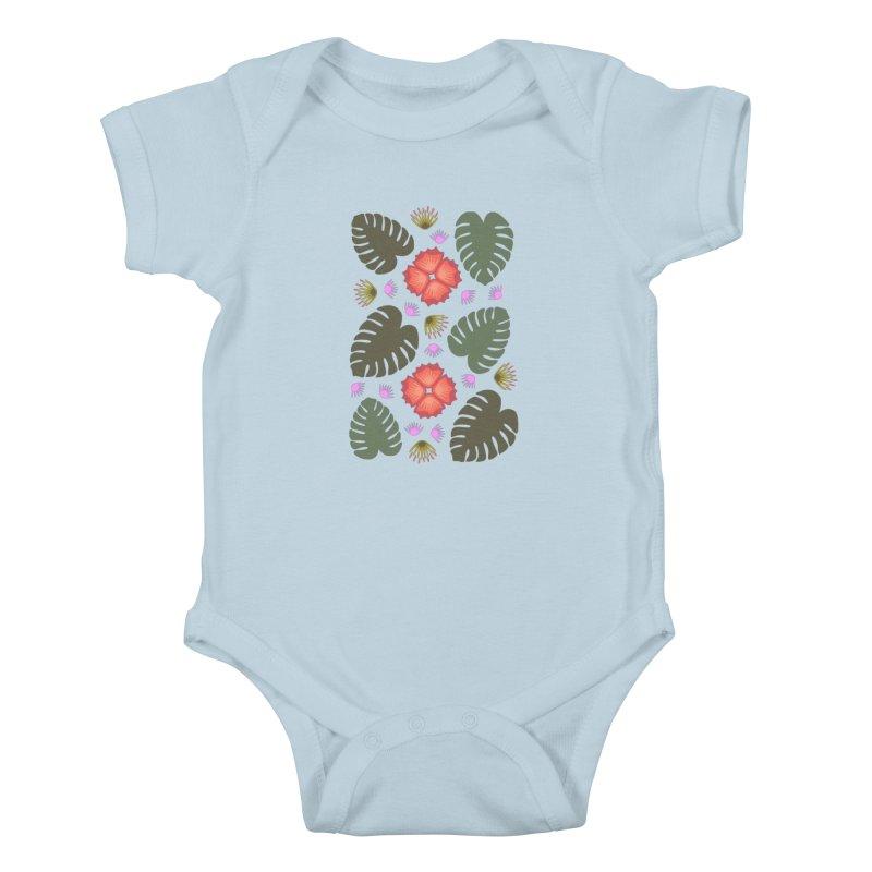 Tropical Leaves Kids Baby Bodysuit by Kira Seiler
