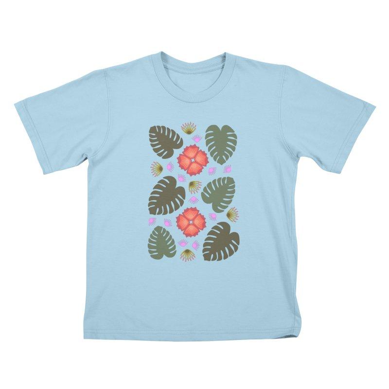 Tropical Leaves Kids T-shirt by Kira Seiler