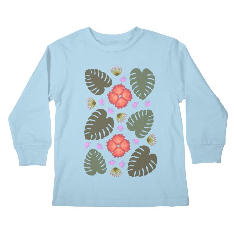 Tropical Leaves Kids Longsleeve T-Shirt by Kira Seiler
