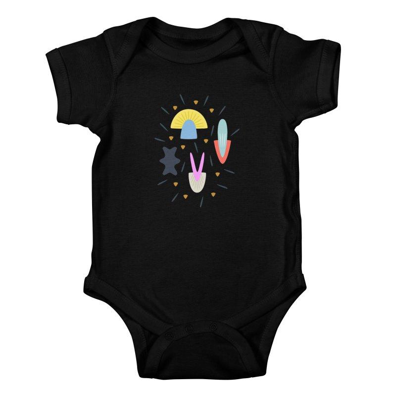 Happy Shroom dark Kids Baby Bodysuit by Kira Seiler