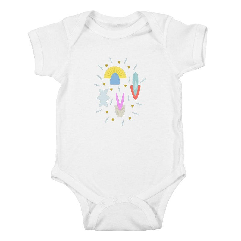 Happy Shroom light Kids Baby Bodysuit by Kira Seiler