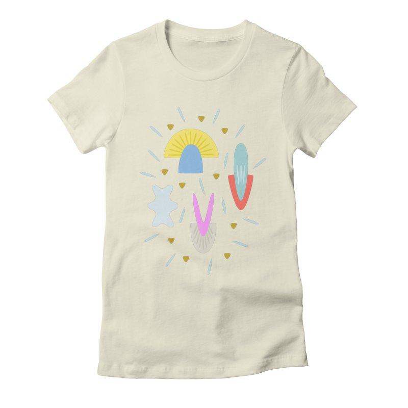 Happy Shroom light Women's Fitted T-Shirt by Kira Seiler