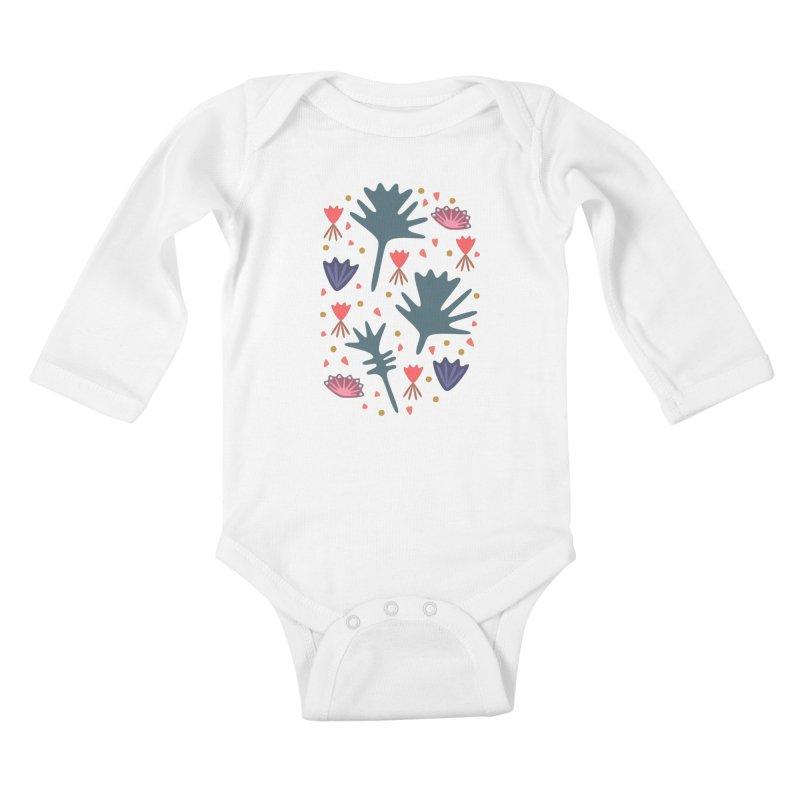 Raining Roses Kids Baby Longsleeve Bodysuit by Kira Seiler
