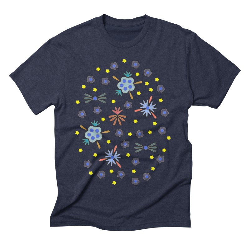 Retro Bloom Men's Triblend T-Shirt by Kira Seiler