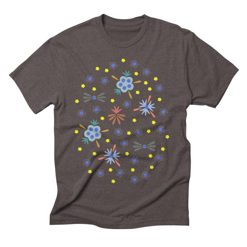 Retro Bloom Men's Triblend T-Shirt by Kira Seiler
