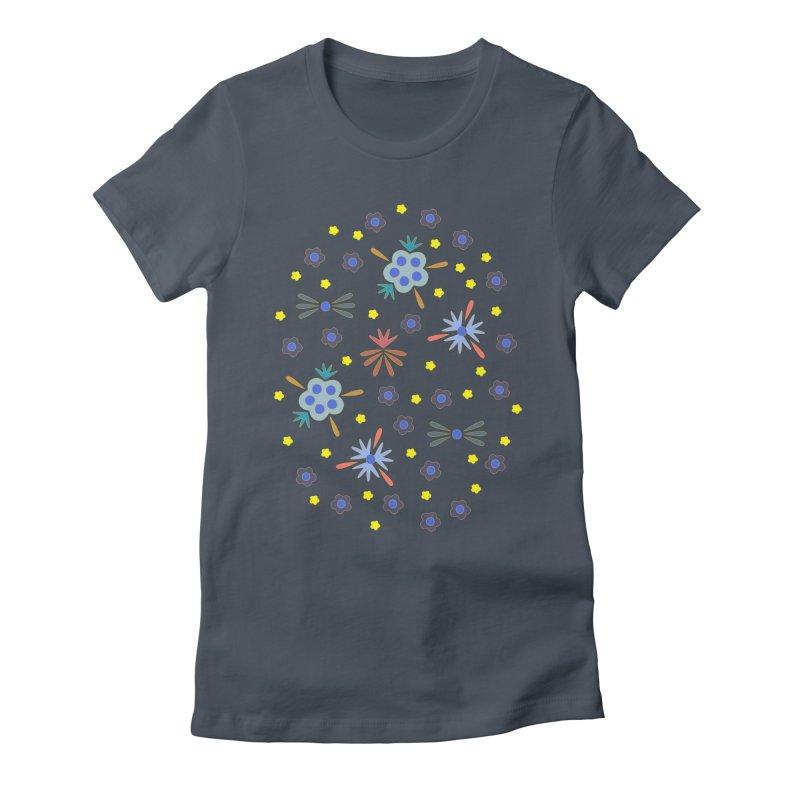 Retro Bloom Women's Fitted T-Shirt by Kira Seiler