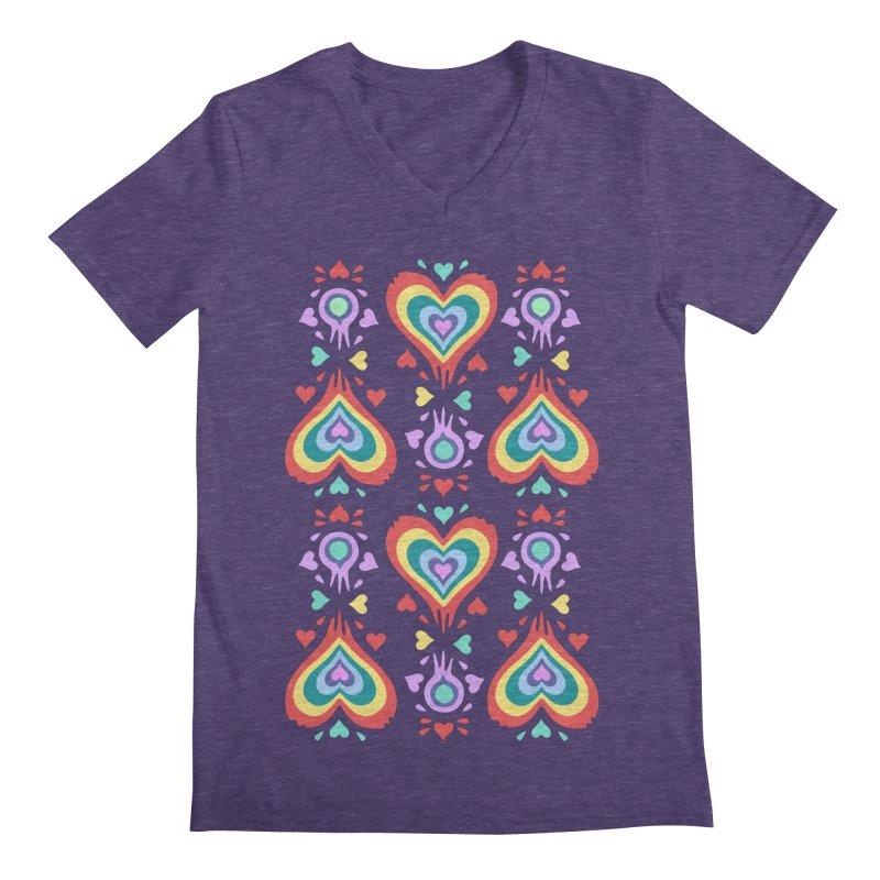 Heart of Hearts Men's V-Neck by Kira Seiler