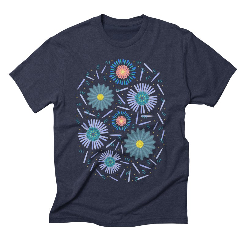 Blue Daisy Men's Triblend T-Shirt by Kira Seiler