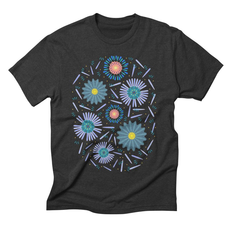 Blue Daisy Men's Triblend T-Shirt by Kira Seiler