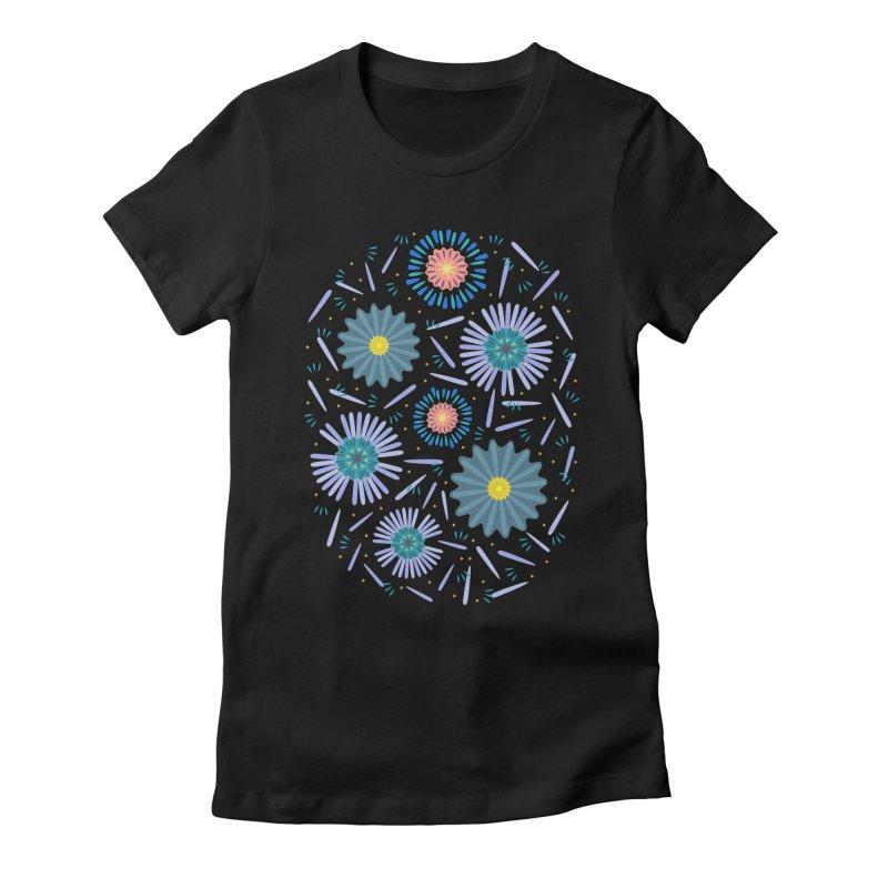 Blue Daisy Women's Fitted T-Shirt by Kira Seiler