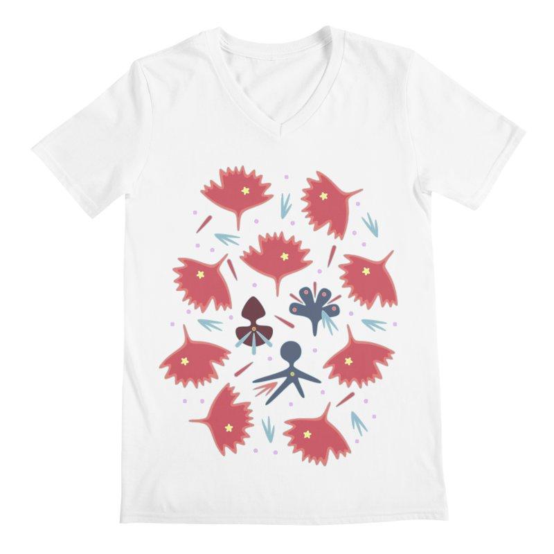 Red Leaves Men's V-Neck by Kira Seiler
