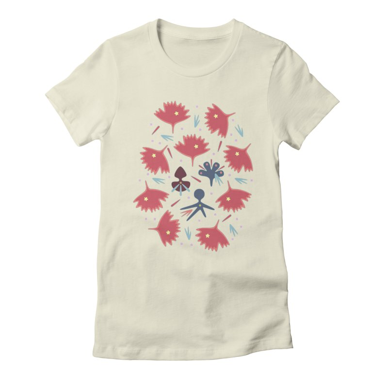 Red Leaves Women's Fitted T-Shirt by Kira Seiler