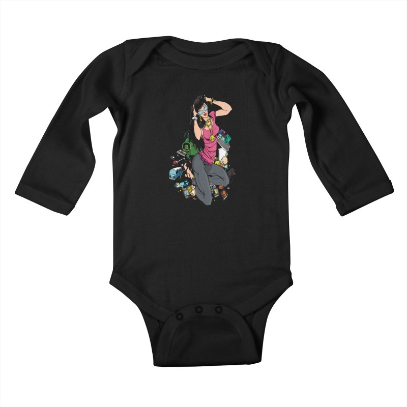 Kirby Krackle - Gamer Girl Logo Kids Baby Longsleeve Bodysuit by Kirby Krackle's Artist Shop