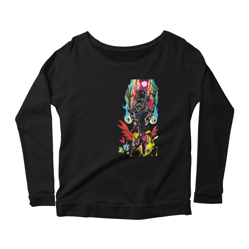 Kirby Krackle - Electric Man Logo Women's Longsleeve Scoopneck  by Kirby Krackle's Artist Shop
