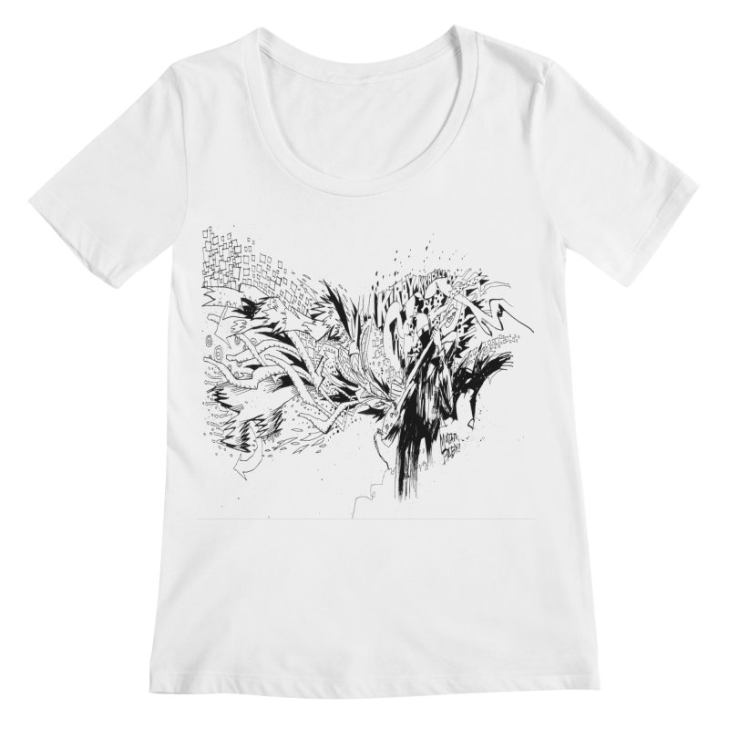 Kirby Krackle - MUTATE, BABY! B&W Cover Image Women's Scoopneck by Kirby Krackle's Artist Shop