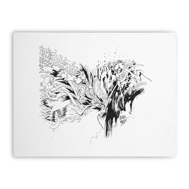Kirby Krackle - MUTATE, BABY! B&W Cover Image Home Stretched Canvas by Kirby Krackle's Artist Shop