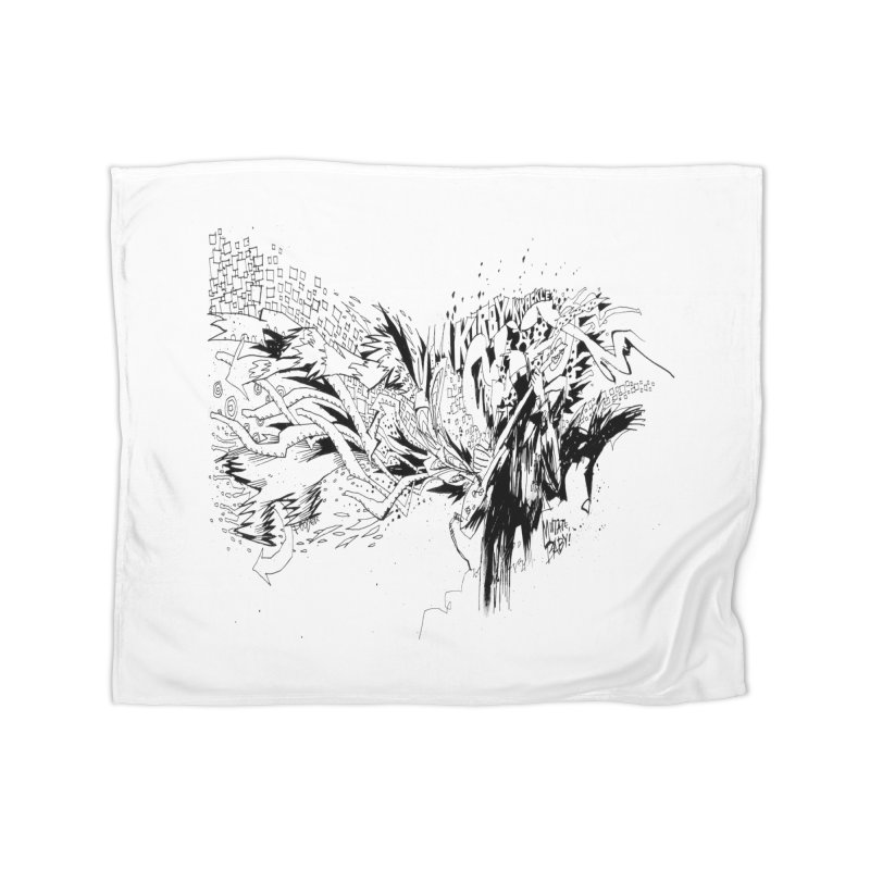 Kirby Krackle - MUTATE, BABY! B&W Cover Image Home Blanket by Kirby Krackle's Artist Shop