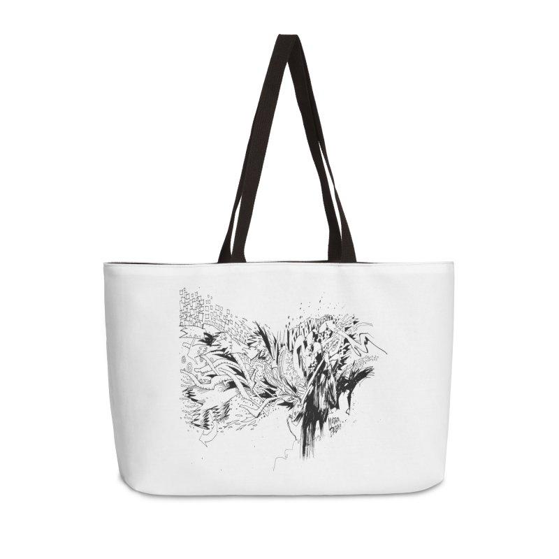 Kirby Krackle - MUTATE, BABY! B&W Cover Image Accessories Weekender Bag Bag by Kirby Krackle's Artist Shop