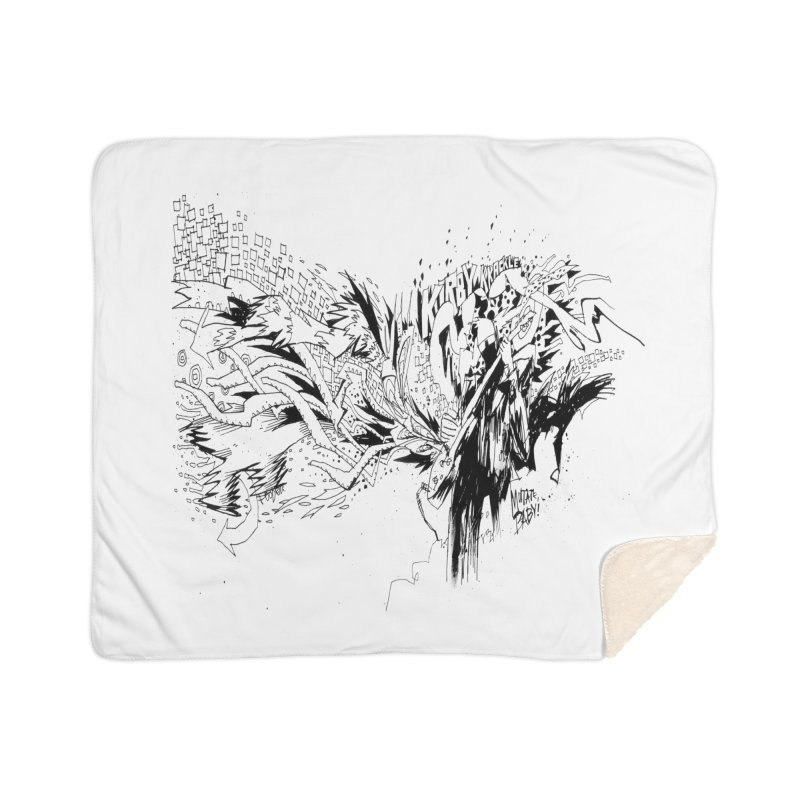 Kirby Krackle - MUTATE, BABY! B&W Cover Image Home Sherpa Blanket Blanket by Kirby Krackle's Artist Shop