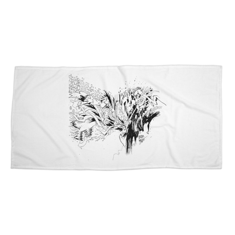 Kirby Krackle - MUTATE, BABY! B&W Cover Image Accessories Beach Towel by Kirby Krackle's Artist Shop