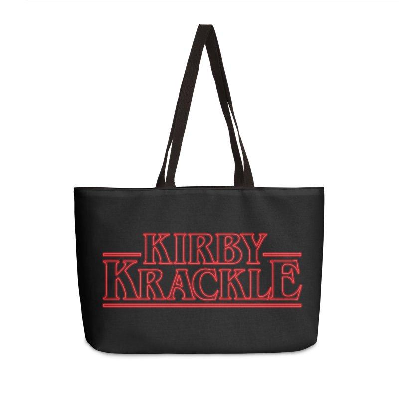 Kirby Krackle - Stranger Logo (Neon) Accessories Weekender Bag Bag by Kirby Krackle's Artist Shop