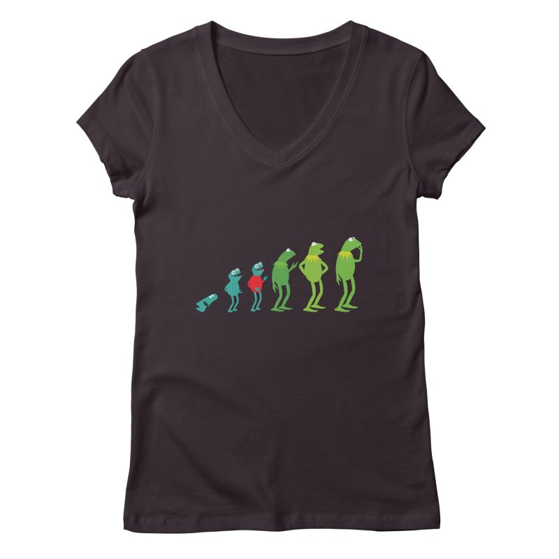 Evolution of Kermit Women's Regular V-Neck by kirbymack's Artist Shop