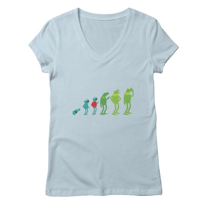 Evolution of Kermit Women's Regular V-Neck by kirbymack's Artist Shop