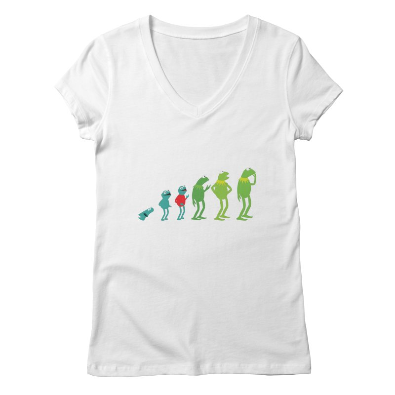 Evolution of Kermit Women's V-Neck by kirbymack's Artist Shop