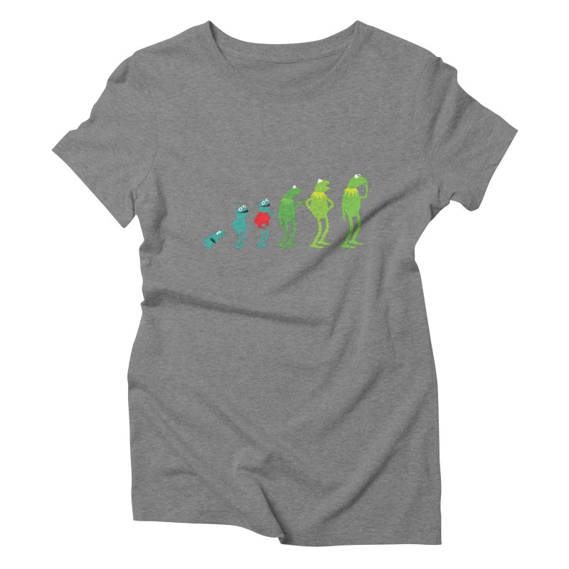 Evolution of Kermit Women's Triblend T-Shirt by kirbymack's Artist Shop
