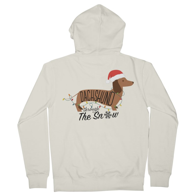 Dachshund Through The Snow Men's French Terry Zip-Up Hoody by kirbymack's Artist Shop