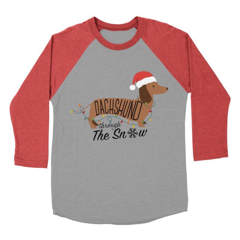Dachshund Through The Snow Men's Baseball Triblend Longsleeve T-Shirt by kirbymack's Artist Shop