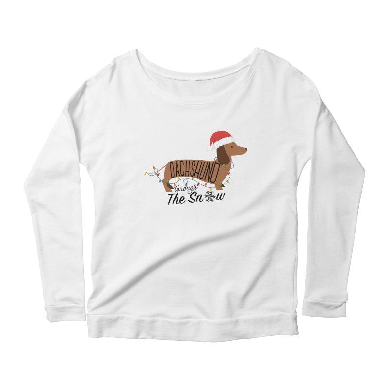 Dachshund Through The Snow Women's Scoop Neck Longsleeve T-Shirt by kirbymack's Artist Shop
