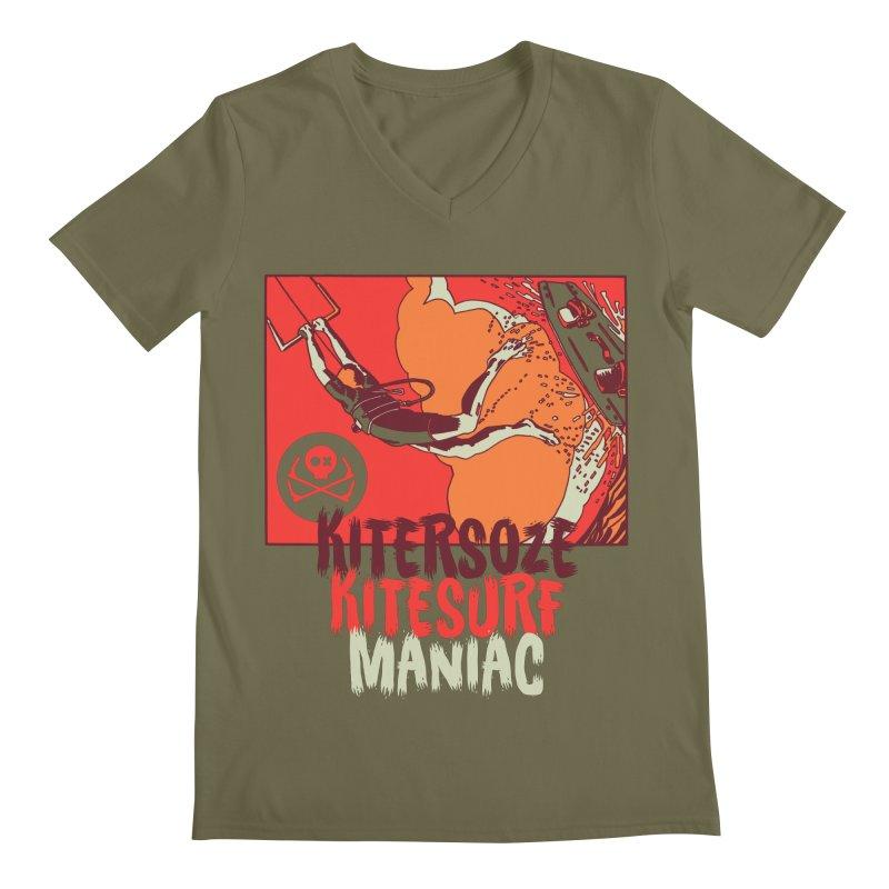 Kite Maniac Men's Regular V-Neck by kitersoze