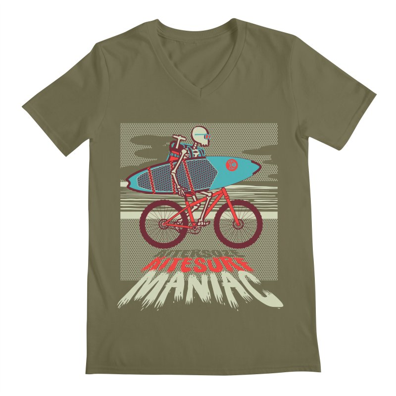 Kite by bike Men's Regular V-Neck by kitersoze