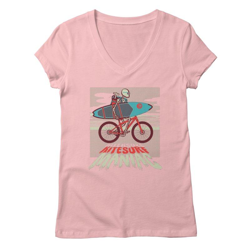 Kite by bike Women's V-Neck by kitersoze