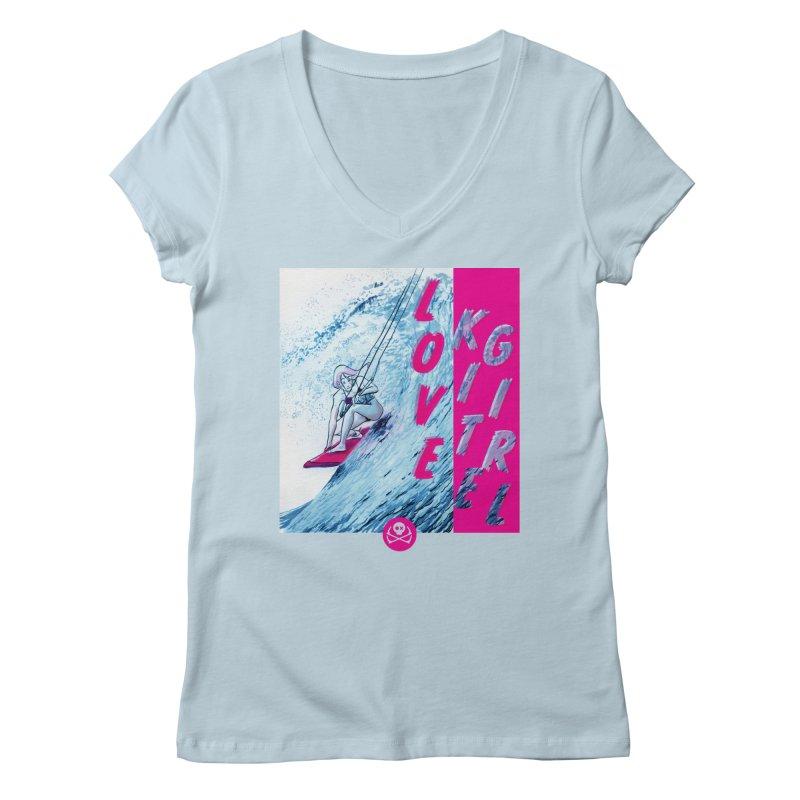 Love Kite Girl Women's V-Neck by kitersoze