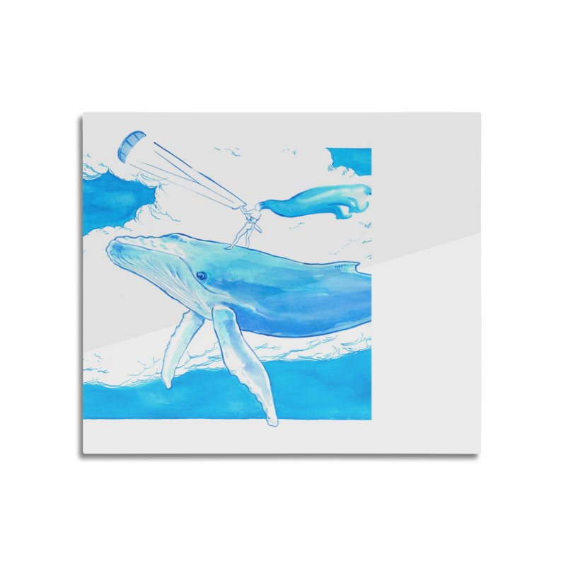 The Kite, the Girl and the Blu Whale Home Mounted Aluminum Print by kitersoze