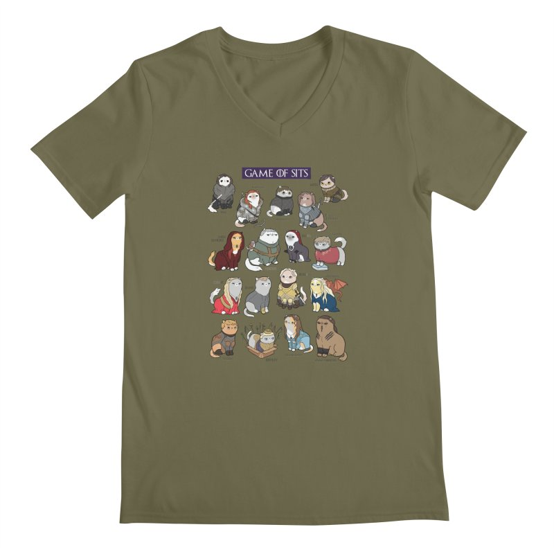 Game of Sits Men's Regular V-Neck by KittyCassandra's Artist Shop