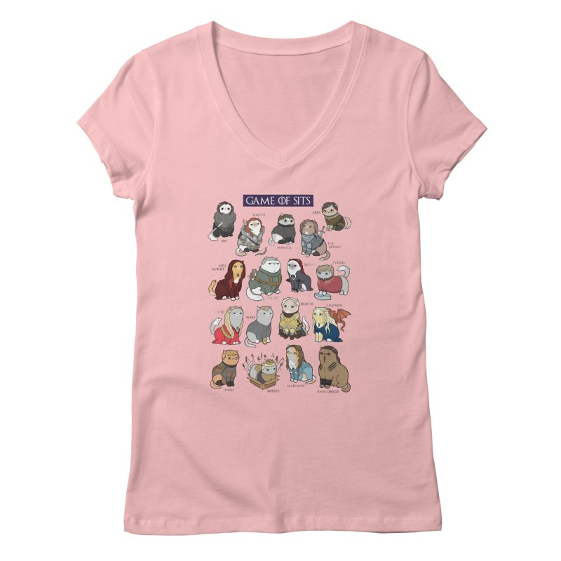 Game of Sits Women's V-Neck by KittyCassandra's Artist Shop