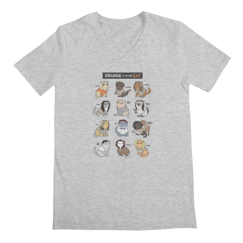 Orange is the New Cat Men's Regular V-Neck by KittyCassandra's Artist Shop