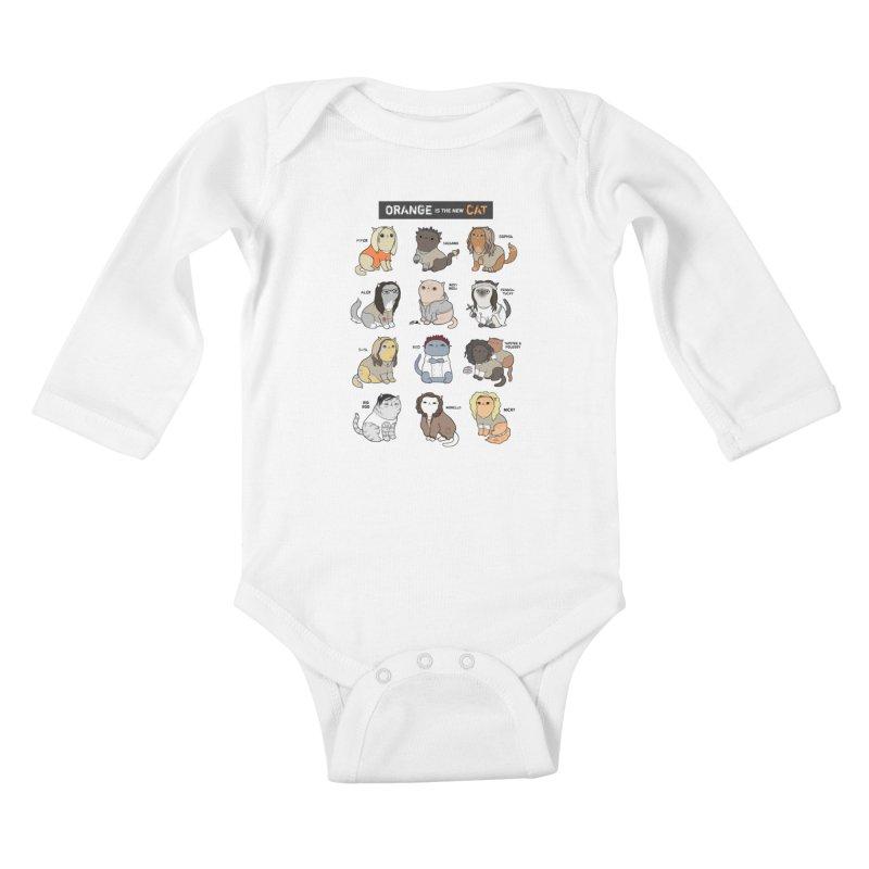 Orange is the New Cat Kids Baby Longsleeve Bodysuit by KittyCassandra's Artist Shop