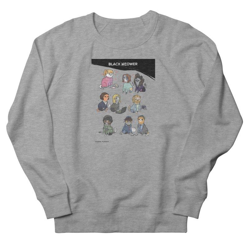 Black (Cat) Mirror Men's French Terry Sweatshirt by KittyCassandra's Artist Shop