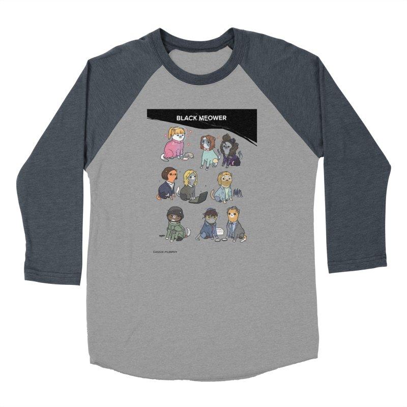Black (Cat) Mirror Men's Baseball Triblend T-Shirt by KittyCassandra's Artist Shop