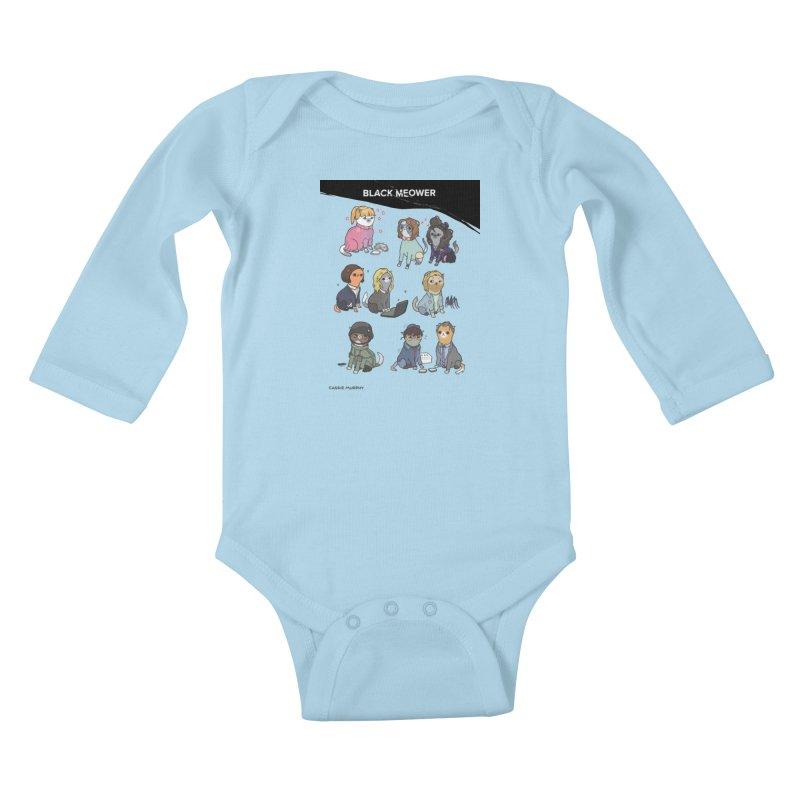 Black (Cat) Mirror Kids Baby Longsleeve Bodysuit by KittyCassandra's Artist Shop